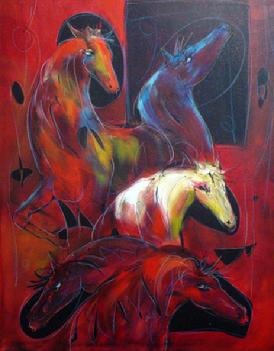 """Cinq Chevaux"" 30"" X 40"" Oil on Canvas"